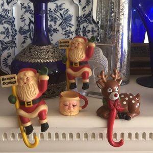 Vintage Christmas Stocking Hangars and decor.